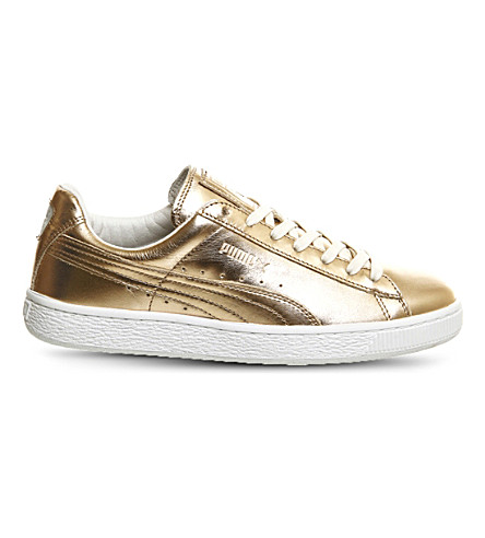 PUMA Basket Classic metallic leather trainers (Porcelain rose white