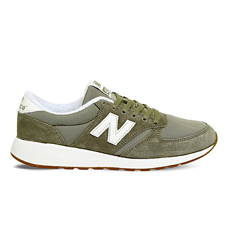 NEW BALANCE 420 low-top suede trainers (Khaki+white
