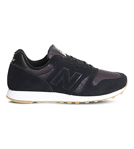 NEW BALANCE 373 suede and nylon trainers (Black+gum