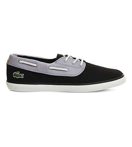 LACOSTE Jouer Deck suede and canvas boat shoes (Black+grey