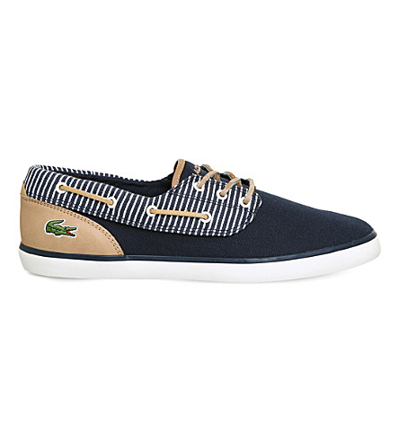 LACOSTE Jouer Deck leather and canvas boat shoes (Navy+stripe