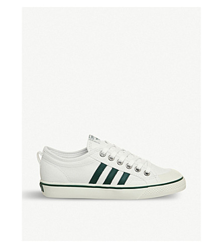 ADIDAS Nizza low-top canvas trainers (White+green