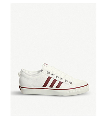ADIDAS Nizza low-top canvas trainers (White+burgundy