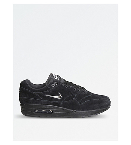 NIKE Air Max 1 Jewel suede trainers (Black+chrome