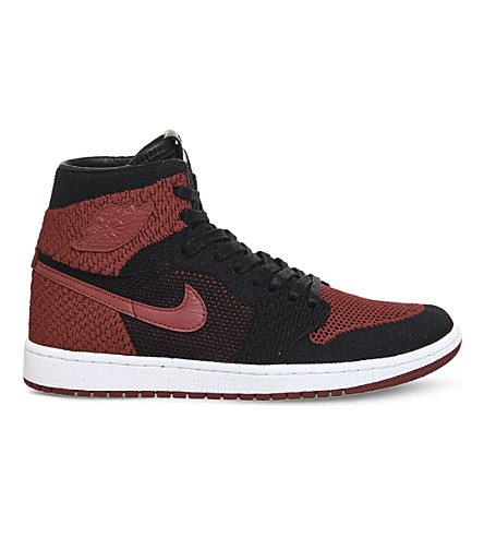 NIKE Air Jordan 1 flyknit trainers (Black+red