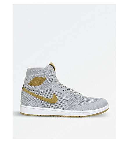 NIKE Air Jordan 1 flyknit trainers (Wolf+grey+gold