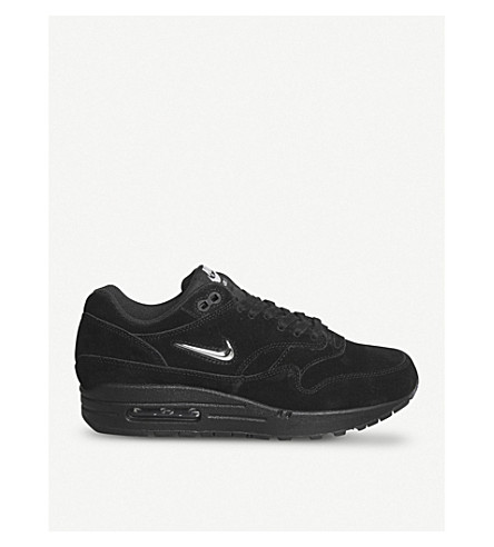 NIKE Air Max 1 Jewel suede trainers (Black+silver+grey