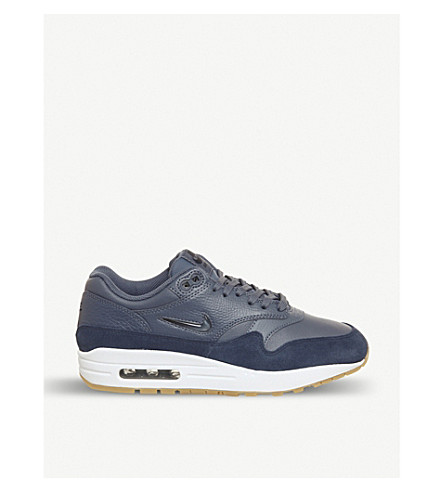NIKE Air Max 1 Jewel leather and suede trainers (Diffused+blue+navy