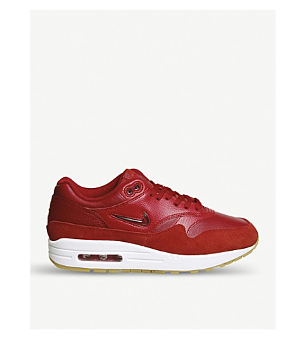 NIKE Air Max 1 Jewel leather and suede trainers (Red
