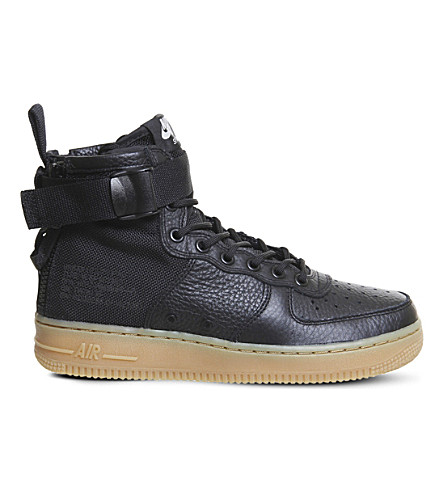 NIKE SF AF-1 17 leather and mesh mid-top trainers (Black+gum