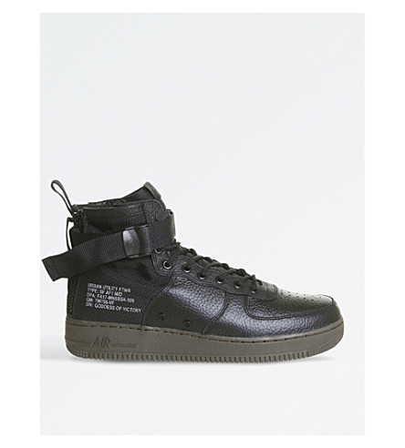 NIKE Air Force 1 mid-top leather trainers (Black+dark+haze