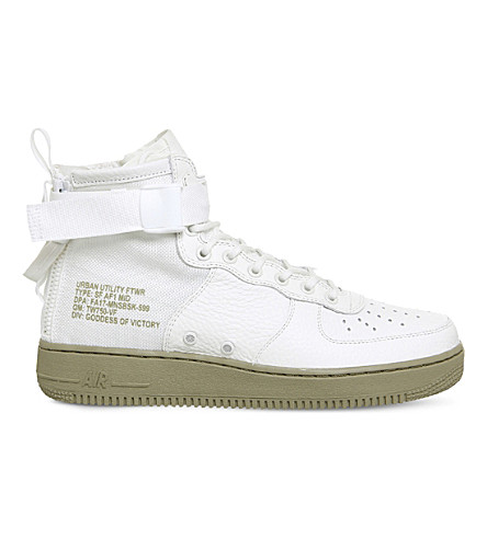 NIKE SF AF-1 leather and canvas trainers (Ivory+neutral+olive