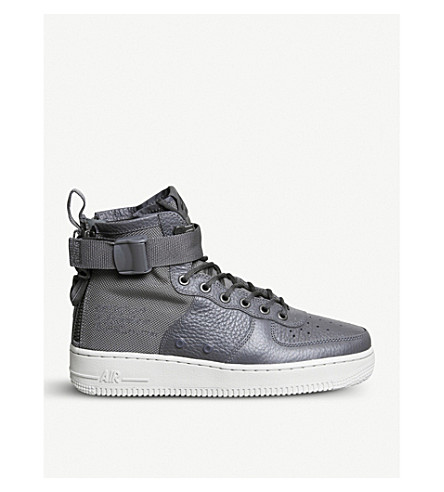 NIKE SF AF-1 17 leathe and mesh mid-top trainers (Dark+grey+bone