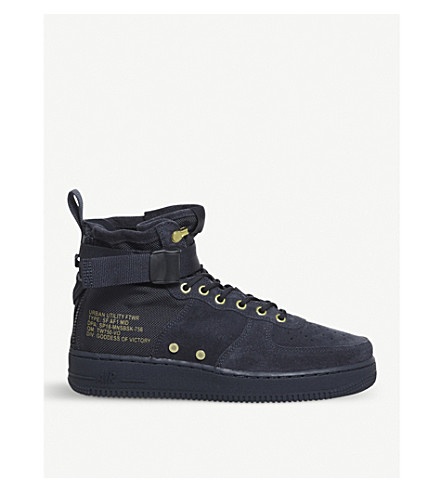 NIKE Air Force 1 mid-top suede trainers (Obsidian+obsidian