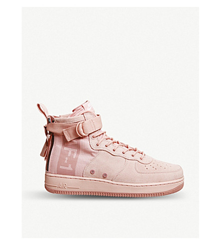 NIKE SF AF1 17 mid-top suede and mesh trainers (Coral+stardust+red