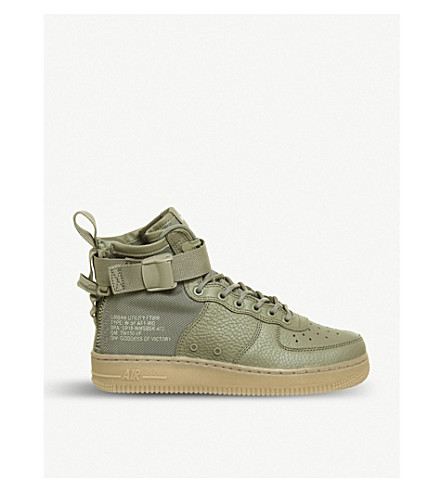 NIKE SF AF1 17 mid-top leather trainers (Dark+stucco