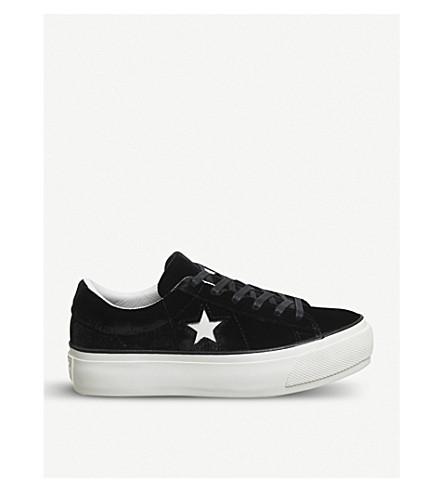 CONVERSE One Star platform velvet trainers (Black+egret+velvet