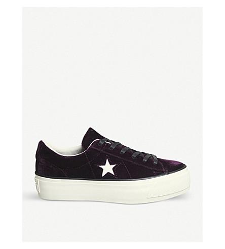 CONVERSE 一星级天鹅绒平台运动鞋 (暗 + 桑格里亚 + 天鹅绒