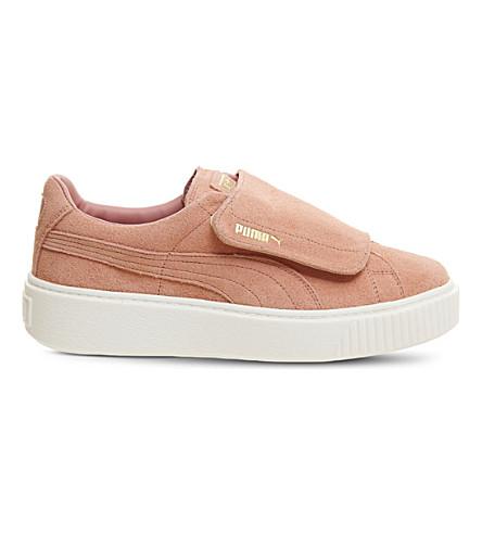 PUMA 绒面革平台运动鞋 (浮雕 + 棕色