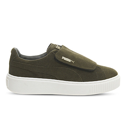 PUMA Suede platform trainers (Olive+night