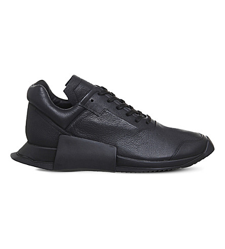 ADIDAS X RICK OWENS RO Level Runner II leather trainers (Black+mono