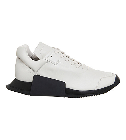 ADIDAS X RICK OWENS RO Level Runner II leather trainers (Milk+black