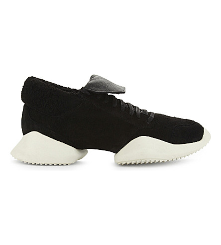ADIDAS X RICK OWENS Vicious suede runner trainers (Black+white