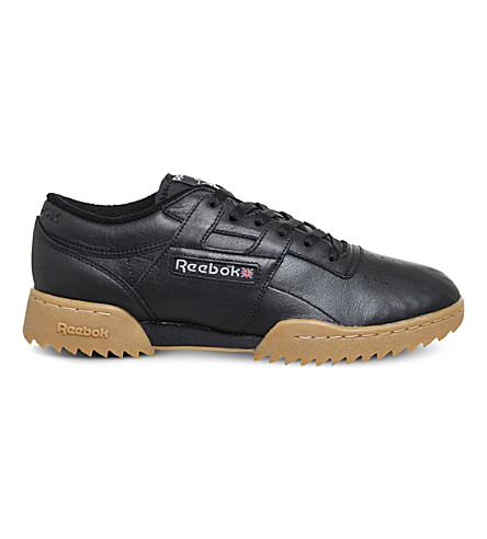 REEBOK Workout ripple leather trainers (Black+gum+vintage