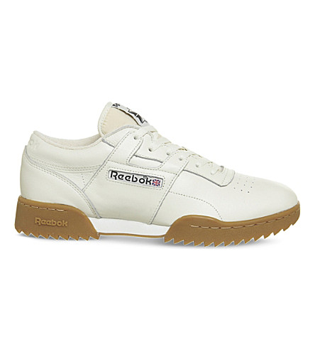 REEBOK Workout ripple leather trainers (Chalk+gum+vintage