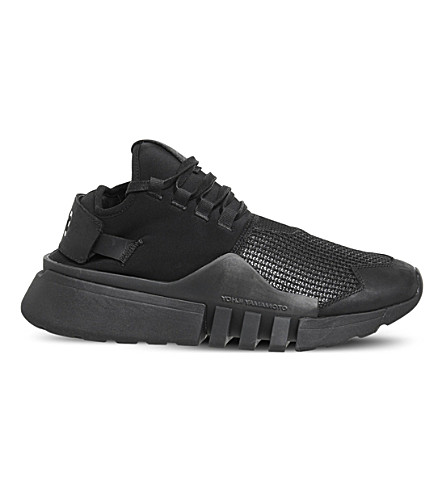 ADIDAS Y3 Y3 Ayero leather and mesh trainers (Black+mono