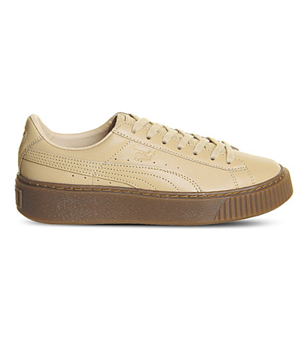 PUMA Platform leather trainers (Veg+tan+natural