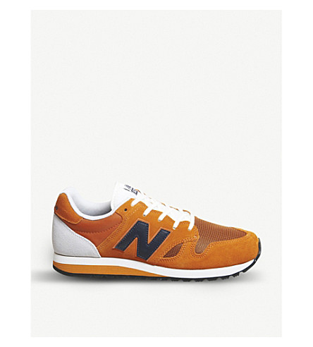 NEW BALANCE U520 suede and mesh trainers (Vintage+orange