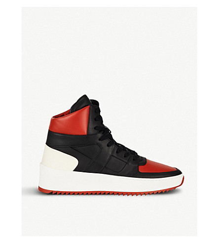 FEAR OF GOD VARSITY BASKETBALL PANELLED LEATHER HIGH-TOP SNEAKERS