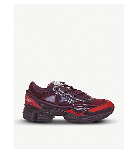 ADIDAS X RAF SIMONS Ozweego III leather and mesh trainers (Burgundy+red