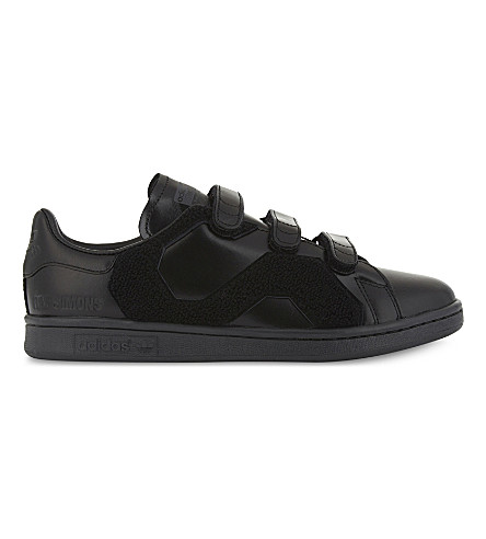 ADIDAS X RAF SIMONS Stan Smith Comfort faux-fur and leather trainers (Black mono