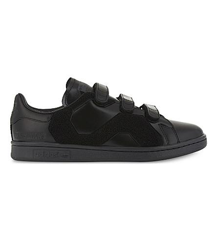 ADIDAS X RAF SIMONS Stan Smith 舒适人造毛皮和皮革运动鞋 (黑色 + 单声道
