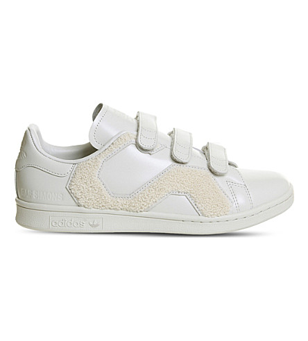 ADIDAS X RAF SIMONS Stan Smith faux-fur and leather trainers (Talc+mono