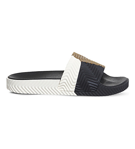 ADIDAS AW Adilette colourblock sliders (Black+white+rubber