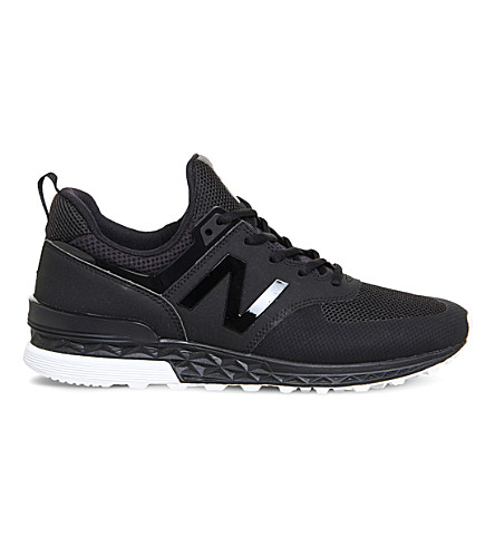 NEW BALANCE 574S leather and mesh trainers (Black