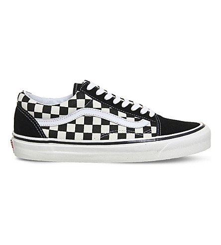 VANS Old Skool canvas and suede low-top trainers (Black+white+check