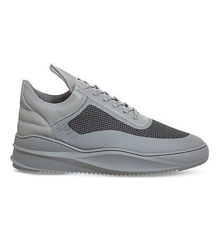 FILLING PIECES Low top sky seamless leather and mesh trainers (Dark+grey