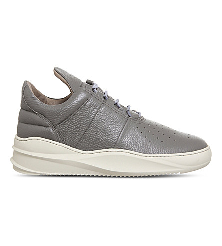 FILLING PIECES Low top tabs 2.0 leather trainers (Dark+grey+tape
