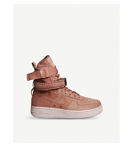 NIKE SF AF-1 17 leather and mesh high-top trainers (Dusty+peach