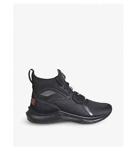 PUMA Phenom neoprene and mesh high-top trainers (Black+black