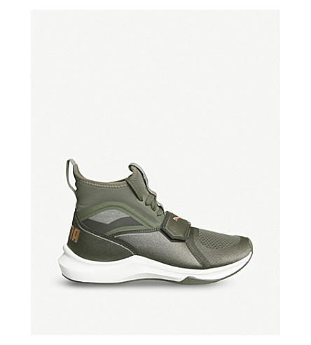 PUMA Phenom neoprene and mesh high-top trainers (Olive+night+whisper