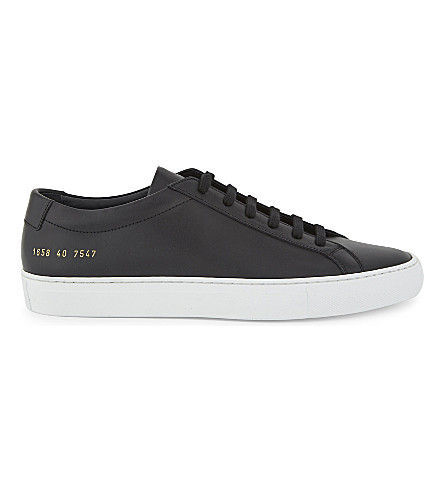 COMMON PROJECTS Achilles leather low-top trainers (Black+white+leather