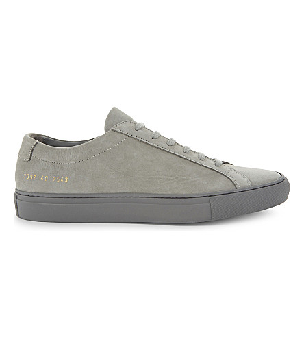 COMMON PROJECTS Original Achilles nubuck low-top trainers (Grey+mono+nubuck