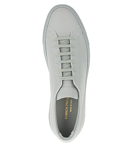 COMMON PROJECTS Original Achilles Low-Top Leather Sneakers, Light Grey Mono
