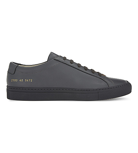 COMMON PROJECTS Achilles leather low-top trainers (Dark+grey+mono+lthr