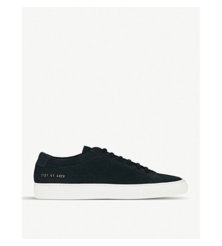 COMMON PROJECTS Achilles leather low-top trainers (Navy+suede